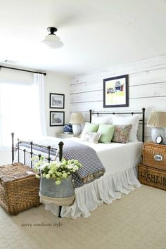 Farmhouse Bedroom by Savvy Southern Style: Fun Colorful Summer Guest Bedroom Farmhouse Bedroom Decor, Home Decor Bedroom, Modern Bedroom, Antique Bedroom Decor, Farm Bedroom, Bedroom Fun, Rustic Bedroom Furniture, Cottage Furniture, Victorian Furniture