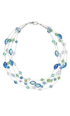 Multi-Strand Necklace with Celestial Crystal® Beads and Sterling Silver Wire - Fire Mountain Gems and Beads