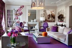 Stunning Transitional style beige living room decor with purple accent and purple decor, elegant luxury living room decor purple decor purple sofa, orchid decor Elegant Home Decor, Luxury Living Room, Purple Living Room, Beige Living Room Decor, Home Decor, Beige Living Rooms, Purple Home Decor, Purple Living Room Furniture, Luxury Living Room Decor