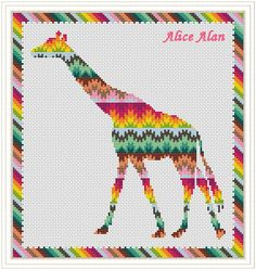 Cross Stitch Pattern Silhouette Giraffe texture ethnic ornament Rainbow Counted Cross Stitch Pattern / Instant Download Epattern PDF File