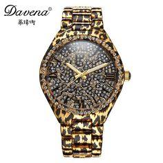 134.90$  Buy now - http://alid11.worldwells.pw/go.php?t=32424724016 - 2016 new female Leopard wristwatch women rhinestone watches fashion casual quartz watch Luxury Brand Davena 60866 Steel clock 134.90$