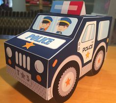 Police car favor or treat box navy blue paper van or truck for police birthday party pdf printable text editable