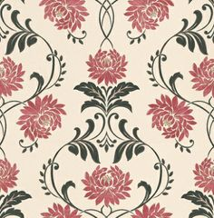 Petal (50-012) - Laurence Llewelyn Bowen Wallpapers - A traditional oriental inspired design with curvaceous red chrysanthemum flowers within an elegant black trail outlined in gold on a cream background. Please request a sample for true colour match.