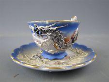 Vintage Dragonware Blue/White Demitasse Cup & Saucer