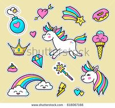 Unicorn badge set. Fashion vector patch badges with white unicorns, hearts, rainbow, diamond, star, crown, magic wand, ice cream, donut, others. Stickers, pins, patches in cartoon 80s-90s comic style.