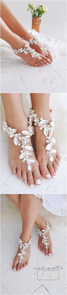 zoom  Request a custom order and have something made just for you. Details ❤A PAIR of Stylish, Sparkly Wedding Barefoot Sandals with Shimmer❤  Are you planning your destination wedding?If yes, then this statement jewellery is perfect addition to your boho bridal outfit. These beautiful bridal anklets will sparkle and shine as you walk elegantly down the aisle. Perfect for your beach weddings or tropical holidays. These barefoot NAEVA wedding sandals feature an irresistible combination of