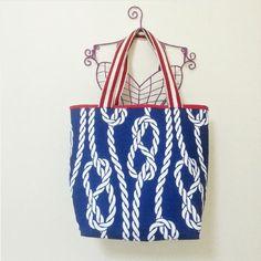 Marine Printed Large Tote Bag, Handmade, Canvas, Cotton, Navy, Shoulder Bag, Daily, Travel, Weekender, Women, Girl, Teen, Beach, Summer, Her