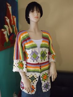 How to crochet a granny square cardigan Part 1- with Ruby Stedman -I would wear this if it was all one colors