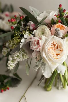 Behind the Scenes   Michelle Edgemont / pretty garden roses and anemone
