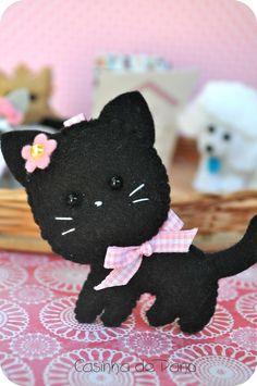 Cute little felt black cat.