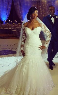 $199- Elegant Lace Long Sleeevs Mermaid Plus Size Wedding Dress