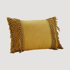 Add bohemian luxury to any bed, sofa or chair with this mustard colour Madam Stoltz Tassle detail cushion. Layer with the olive green fringe cushion to add texture and a boho style. Boho Throw Pillows, Yellow Throw Pillows, Boho Cushions, Yellow Cushions, Mustard Cushions, Mustard Bedding, Linen Bedding, Bed Linens, Bedding Sets