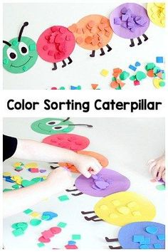This shape and color sorting caterpillar is a great way for preschoolers to practice color recognition and shape identification. It's a fun spring activity! #math #mathcenters #kindergarten #preschool #mathgames #numbersense