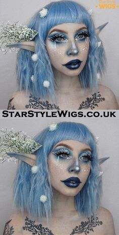 Utterly beautiful Christmas Elf makeup look by completed by the Arctic Blitz Wig. A super cute pastel blue bob Elf Makeup, Fairy Makeup, Cosplay Makeup, Costume Makeup, Fairy Fantasy Makeup, Elfa, Affordable Human Hair Wigs, Blaues Make-up, Artistic Make Up