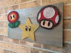 Coole Wand Deko einfach selber machen | DIY String Art Anleitung  - Nintendo Super Mario Bros. Power Ups.