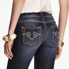 ReRock For Express Jeans FlASH SALE low rise , thick stitched, boot cut jeans! Makes your but look amazing, it actually gives it a lift, lol, the embroidery is beautiful, really nice jeans to own, too small on me now!! EUC, worn once or twice, like NEW Rerock For Express Jeans