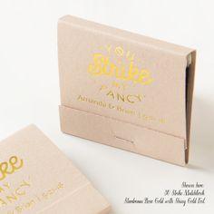 STRIKE MY FANCY Matchbooks - Wedding Favors, Wedding Matches, Wedding Decor, Matchbook Art, Custom Matchbooks, Engagement Party, Gold Foil