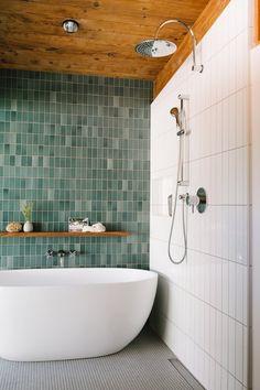 Home Interior Bathroom Renovation Of Mid-Century Modern Home Design. Bathroom Renos, White Bathroom, Small Bathroom, Green Bathroom Tiles, Green Tiles, Ceramic Tile Bathrooms, Bathroom Subway Tiles, Green Bathrooms, Green Subway Tile