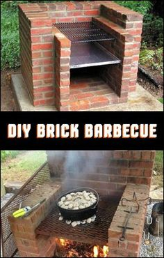 Easy to build and use, low-maintenance and long-lasting - these are the things w.- Easy to build and use, low-maintenance and long-lasting – these are the things we love about this brick barbecue! Do you want to build one in your backyard? Pit Bbq, Backyard Kitchen, Fire Pit Backyard, Backyard Patio, Backyard Landscaping, Landscaping Ideas, Outdoor Oven, Outdoor Cooking, Outdoor Entertaining
