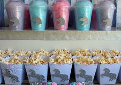 Unicorn Candy Floss Tubs and Popcorn Boxes