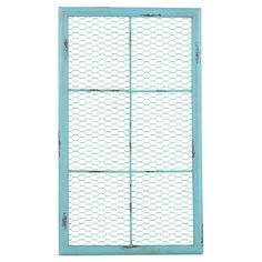 Showcasing a chickenwire design and weathered blue finish, this window-inspired wall decor adds a farmhouse-chic touch to your kitchen or entryway.
