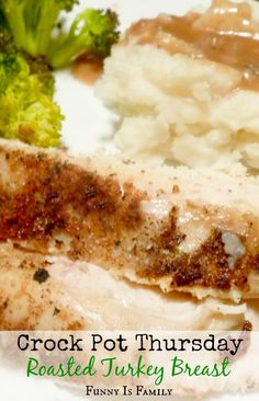 This Crockpot Roasted Turkey Breast is made with the most incredible rub! Don't wait for Thanksgiving to make this quick and easy dinner. Your family will love it! via @funnyisfamily