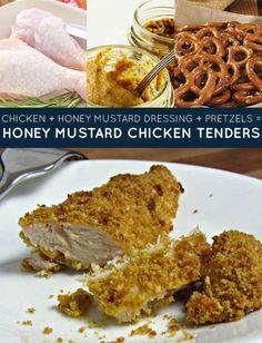 chicken + honey mustard dressing + pretzels = honey mustard chicken tenders