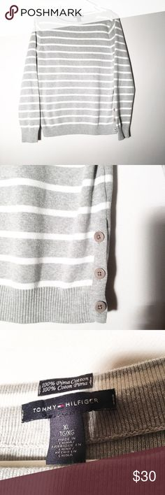 Tommy Hilfiger XL stripe sweater 100% cotton! Very warm and cute! Make an offer! Tommy Hilfiger Sweaters Crew & Scoop Necks