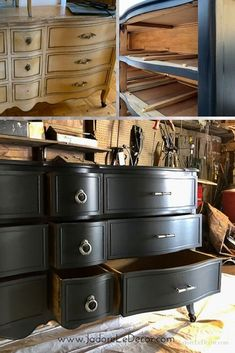 9 Reasons Why Velvet Finishes the Best Paint for Old Furniture — J'adore le Décor Diy Furniture Renovation, My Furniture, Refurbished Furniture, Repurposed Furniture, Furniture Projects, Painting Old Furniture, Furniture Design, Old Furniture Painted, Paint Furniture Black