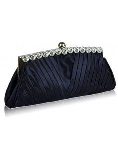 761549b30e7c NAVY BLUE RUCHED SATIN CRYSTAL EVENING CLUTCH BRIDAL WEDDING BAG - Wedding  Bags - Wedding Accessories