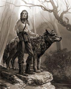 Arya und Nymeria by Chinasky66.deviantart.com on @DeviantArt