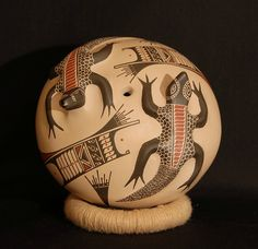 Ceramic seed pot with two lizards from Mata Ortiz, Chihuahua, Mexico. Seed pots are vessels with tiny openings that were used to store seeds for future planting. The tiny openings helped prevent insects and animals from eating the precious seeds.