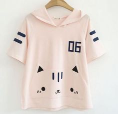 Creative cat cosplay hoodie with ears, suitable for junior high school girls. Cute cat short sleeve hooded sweatshirts for teenage girl, fresh style, soft cotton fabric. Cosplay cat hoodey online sales, white and pink to choose from. Cat Cosplay, Short Sleeve Hoodie, Kawaii Fashion, Online Clothing Stores, Graphic Sweatshirt, T Shirt, Hoodies, Sweatshirts, Asian Fashion