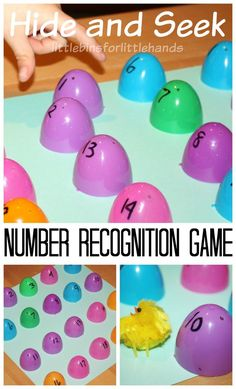 DIY simple number recognition game for kids. Practice numbers with this fun hide and seek number recognition game. Improve number recognition and play! Early Learning Activities, Easter Activities For Kids, Learning Games For Kids, Spring Activities, Preschool Activities, Number Games For Preschoolers, Number Games For Kids, Learning Numbers Preschool, Preschool Boards