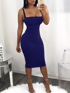 Spaghetti Strap Bandage Lace Up Sexy Bodycon Knee Length Tight Dresses, Sexy Dresses, Fashion Dresses, Look Vintage, Looks Style, Glamour, Dress Skirt, Ideias Fashion, Sexy Women