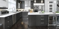 Inspiration gallery of modern and contemporary kitchens. Get inspired by the latest kitchen designs by Armoires Cuisines Action. Smart Kitchen, Kitchen And Kitchenette, White Kitchen Cabinets, New Kitchen, Kitchen Dining, Kitchen Decor, Latest Kitchen Designs, Beautiful Kitchens, Home Remodeling