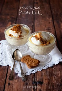 Whipperberry: Holiday Nog Panna Cotta Topped with Bischoff Cookie Crumbles