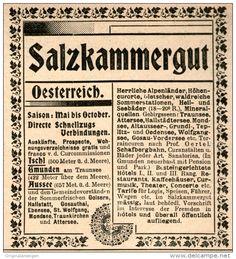 Original-Werbung/Inserat/ Anzeige 1899 - SALZKAMMERGUT ca. 90 x 100 mm