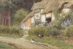 Arthur Claude Strachan:A Young Girl and Chickens by a Cottage