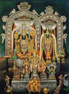 Sita, Rama and Lakshmana . Bhadrachalam temple