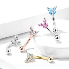 Wholesale Body Jewelry and Steel Jewelry - Hollywood Body Jewelry Rook Piercing Jewelry, Piercings, Barbell Piercing, Belly Rings, Belly Button Rings, Wholesale Body Jewelry, Eyebrow Ring, Butterfly Top, Rose Gold Earrings