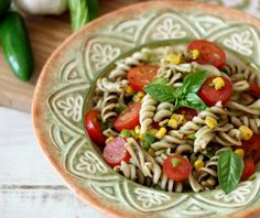 ... that has been tossed with fresh tomatoes, corn and Anaheim peppers