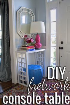 love this diy fretwork console table.apparently console tables are my new thing. Furniture Projects, Furniture Makeover, Home Projects, Diy Furniture, Console Furniture, Entryway Console, Console Tables, Table Desk, Diy Table