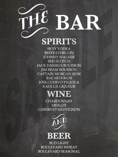 #NEW! #Wedding Reception #Chalkboard Bar Menu by WeddingsByJamie