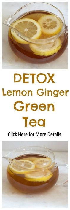 Detox Lemon Ginger Green Tea - Everyday Eileen detox lemon ginger green tea is a healthy blend of green tea, lemon, ginger and cayenne. Filled with antioxidants and health benefits. A great way to start the day! Bebidas Detox, Healthy Detox, Healthy Drinks, Healthy Water, Easy Detox, Healthy Weight, Digestive Detox, Lemon Diet, Fat Foods