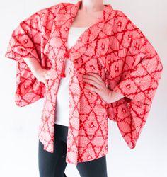 Japanese vintage red and pink shibori kimono jacket by CJSTonbo, $65.00