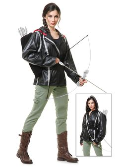 Do it yourself katniss everdeen costume pinterest katniss halloween costume idea cheap black jacket and use gray electrical tape for the stripes solutioingenieria Gallery