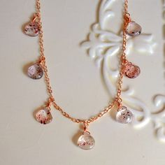 NEW Gemstone Necklace Rose Gold Lepidocrocite by livjewellery