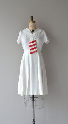 Sea Flag dress vintage 1940s dress white 40s dress by DearGolden