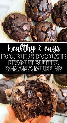 These are the BEST healthy double chocolate banana muffins EVER! I love that they have peanut butter and are made with clean ingredients. They come out perfect every time! These peanut butter chocolate muffins are moist, delicious, and healthy! My toddler is obsessed with them and so am I! #healthykids #bananamuffins #peanutbutter